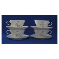 Four Syracuse China Alpine Cup and Saucer Sets