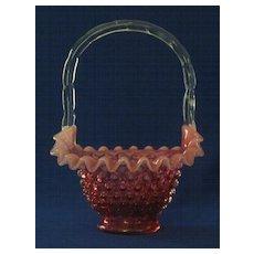 Fenton Cranberry Opalescent Hobnail Ruffle Edged Basket