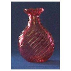 Cranberry Spiral Art Glass Vase