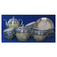 Yellow And Teal Luster Tea Set Service For Six