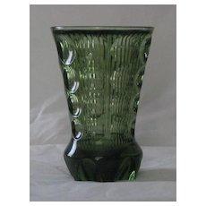 Green Fostoria Vase With Label