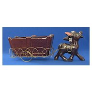 Red Ware Donkey Pulling a Cart Planter