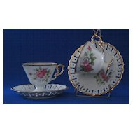 Pair Of Norcrest Rose Decorated Cups And Saucers