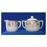 Noritake Pink Rose Decorated Creamer And Covered Sugar