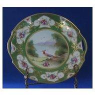 Gorgeous Noritake Handled Plate With Bird Motif Decoration