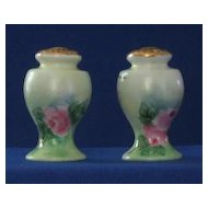 Artist Signed Porcelain Rose Decorated Salt And Peppers