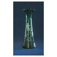 "Victorian ""Mary Gregory"" Style Emerald Green Vase"