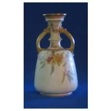 Doulton Burslem Flower Decorated Handled Vase