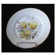 Yellow Rose Artist Signed Hand Painted Porcelain Plate