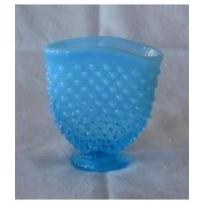 Fenton Blue Opalescent Hobnail Miniature Fan Vase