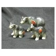 Three Miniature Bone China Bear Figurines