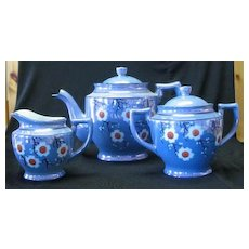 Cherry Blossom Decorated Blue Luster Tea Set For Four