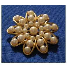 """""""Marvella"""" Signed Faux Pearl Brooch"""