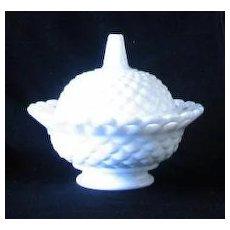 Fostoria Milk Glass Pierced Rim Covered Candy Dish