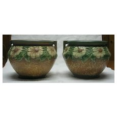 Pair Of Roseville Pottery Dahlrose Jardinieres