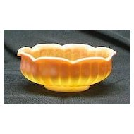 New Martinsville Peach Blow Glass Ribbed bowl