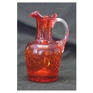 Red Crackle Glass Small Pitcher With Ribbed Attached Handle