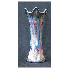 Fenton Blue Diamond & Rib Carnival Glass Vase