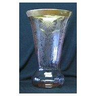 Large Pink Etched Gold Encrusted Vase