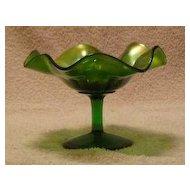 Green Carnival Glass Compote