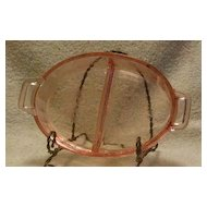 Jeanette Glass Pink Poinsettia Pattern Divided Relish Dish