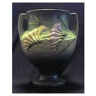 Roseville 196-8 Green Freesia Two Handled Vase