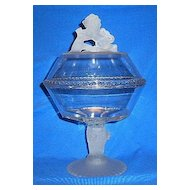 Gillinder & Sons Frosted Rampant Lion Covered Compote