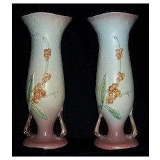 Pair Of Roseville Pottery Bittersweet Pattern Vases
