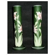 Pair Of Enamel Decorated  Green Vases