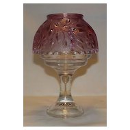 Fenton Mulberry Fairy Lamp With Clear Base