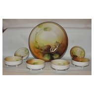 Noritake Hand Painted Walnut Decorated Nut Dish Set