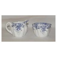 Shelley Dainty Blue Open Sugar And Creamer Set