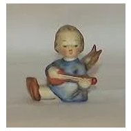 Little Girl Angel Playing A Lute Hummel Mini Candleholder