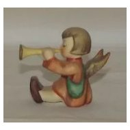 Little Girl Angel Playing A Trumpet Hummel Mini Candleholder