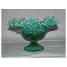 Fenton Emerald Green Hobnail Opalescent Footed Bowl