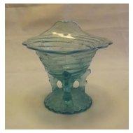 Light Blue Opalescent Rimmed Vase