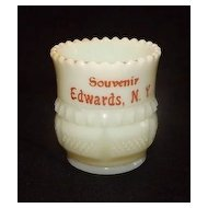 Souvenir Custard Glass Toothpick Holder From Edward's N.Y.