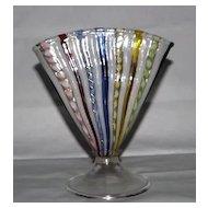 """Murano """"Latticino"""" Fan Vase With Attached Foot"""