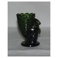 Emerald Green Rabbit With Basket Toothpick Holder