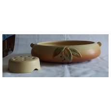 """Weller Pottery """"Cornish"""" Flower Bowl And Frog"""