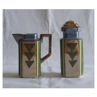 Lusterware Sugar Shaker And Creamer Set