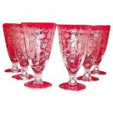 "Fostoria ""Chintz"" Etched Iced Tea Goblets Set Of Twelve"
