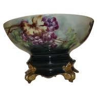 Tressemann & Vogt Grape Decorated Punch Bowl And Stand