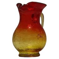 Unmarked Crackle Glass Red To Yellow Pitcher