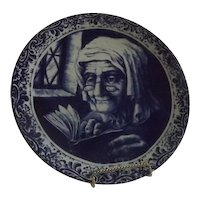 Delft Charger Depicting An Old Woman Reading
