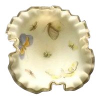 Fenton White Satin Glass Butterfly Decorated Compote