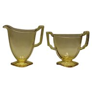 "Fostoria ""Mayfair"" Topaz Sugar And Creamer Set"