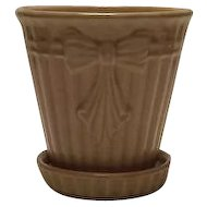 Pink Ribbed Flowerpot With Attached Saucer