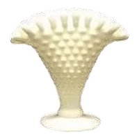 Unmarked Fenton Mini Hobnail Milk Glass Fan Vase