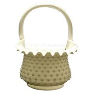 Fenton Milk Glass Hobnail Basket With Original Paper Label